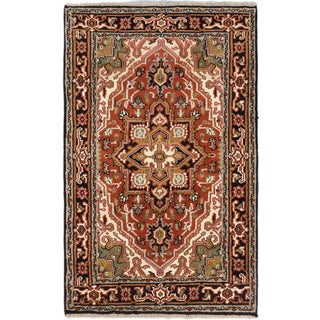 eCarpetGallery Royal Heriz Oriental Orange/Black Wool and Cotton Hand-knotted Area Rug (3'9 x 6'1)