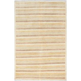 ecarpetgallery Hand-Knotted Finest Ziegler Chobi Blue, Yellow  Wool Rug (6'6 x 9'9)