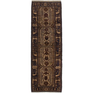 eCarpetGallery Teimani Brown, Ivory Wool Hand-Knotted Rug (3'2 x 9'7)