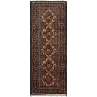 eCarpetGallery Blue/Ivory Wool Hand-knotted Royal Baluch Rug (3'6 x 9'0)