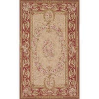 eCarpetGallery French Tapestry Ivory Wool Hand-knotted Sumak Rug - 4'10 x 7'11