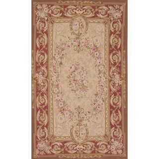 eCarpetGallery French Tapestry Ivory Wool Hand-knotted Sumak Rug (4'10 x 7'11) - 4'10 x 7'11