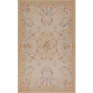 ecarpetgallery Hand-Knotted French Tapestry Grey Wool Sumak (4'11 x 8'0)