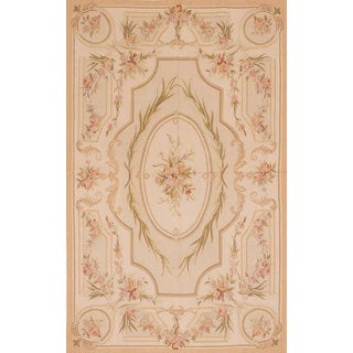 eCarpetGallery French Tapestry Sumak Dark Ivory Wool/Cotton Area Rug (5'0 x 8'1)