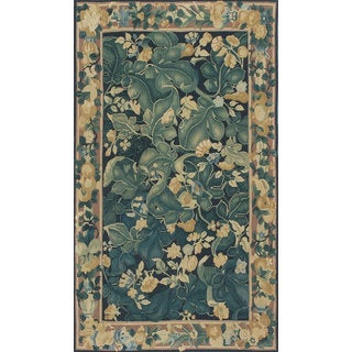 eCarpetGallery Black/Green Wool/Cotton Hand-knotted French Tapestry Sumak (2'11 x 5'1)