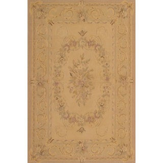 eCarpetGallery French Tapestry Ivory Wool Hand-knotted Sumak Rug (4' x 6')