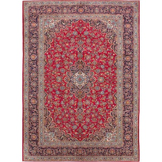 ecarpetgallery Hand-Knotted Kashan Red Wool Rug (9'6 x 12'11)