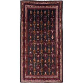 ecarpetgallery Hand-Knotted Persian Vintage Black, Red Wool Rug (4'11 x 9'9)
