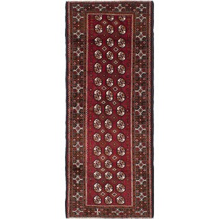 eCarpetGallery Baluch Multicolored/Red Hand-knotted Wool Rug (3'10 x 9'7)