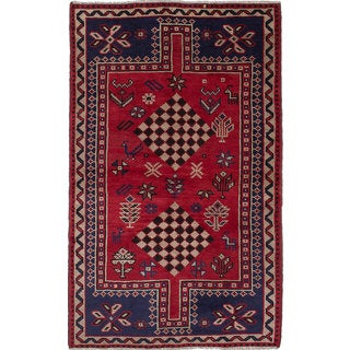 eCarpetGallery Shiraz Oriental Red Wool Hand-knotted Area Rug (4'11 x 8')