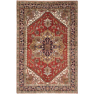 ecarpetgallery Hand-Knotted Serapi Heritage Blue, Red Wool Rug (6'1 x 9'1)