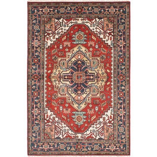 ecarpetgallery Hand-Knotted Serapi Heritage Green, Red Wool Rug (6'2 x 9'2)