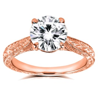 Annello by Kobelli 14k Rose Gold 1 1/2ct TGW Moissanite (HI) and Diamond Antique Cathedral Ring (G-H, I1-I2)