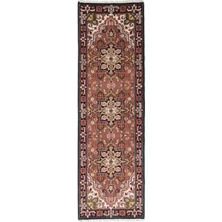 eCarpetGallery Royal Heriz Black/Coral/Cream/Green/Light Gold/Turquoise Wool Hand-knotted Rug (2'6 x 8'1)