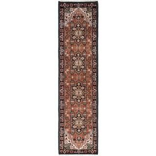 eCarpetGallery Black/Brown Wool/Cotton Hand-knotted Royal Heriz Rug (2'7 x 10'2)