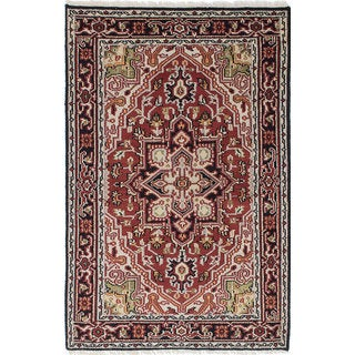 ecarpetgallery Hand-Knotted Royal Heriz Ivory, Red Wool Rug (3'11 x 5'11)