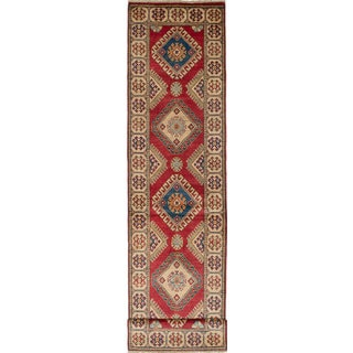 ecarpetgallery Hand-Knotted Finest Gazni Ivory, Red Wool Rug (2'7 x 11'2)