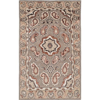 ecarpetgallery Hand-Knotted La Seda Grey Wool and Art Silk Rug (4'11 x 8'0)