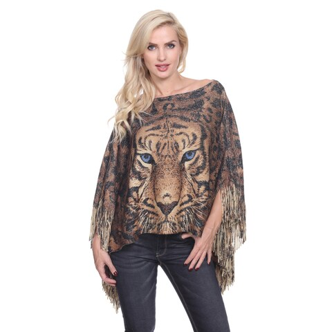 White Mark Women's Lurex Knit Tiger Print Poncho