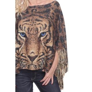 White Mark Women's Lurex Knit Tiger Print Poncho