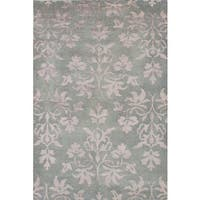 ecarpetgallery Hand-Knotted La Seda Green Wool and Art Silk Rug (5'4 x 8'0)