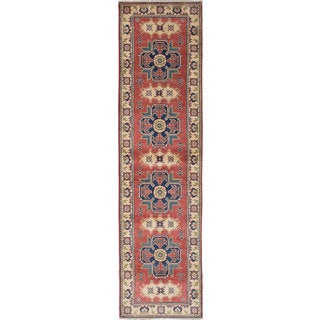 ecarpetgallery Hand-Knotted Finest Gazni Brown, Ivory  Wool Rug (2'7 x 10'2)