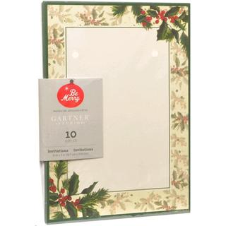 Holly Holiday Multicolored Paper Printable 10-count Invitation Kit