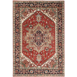 ecarpetgallery Hand-Knotted Serapi Heritage Brown Wool Rug (6'2 x 9'2)
