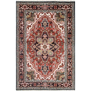 ecarpetgallery Hand-Knotted Royal Heriz Brown  Wool Rug (4'1 x 6'1)