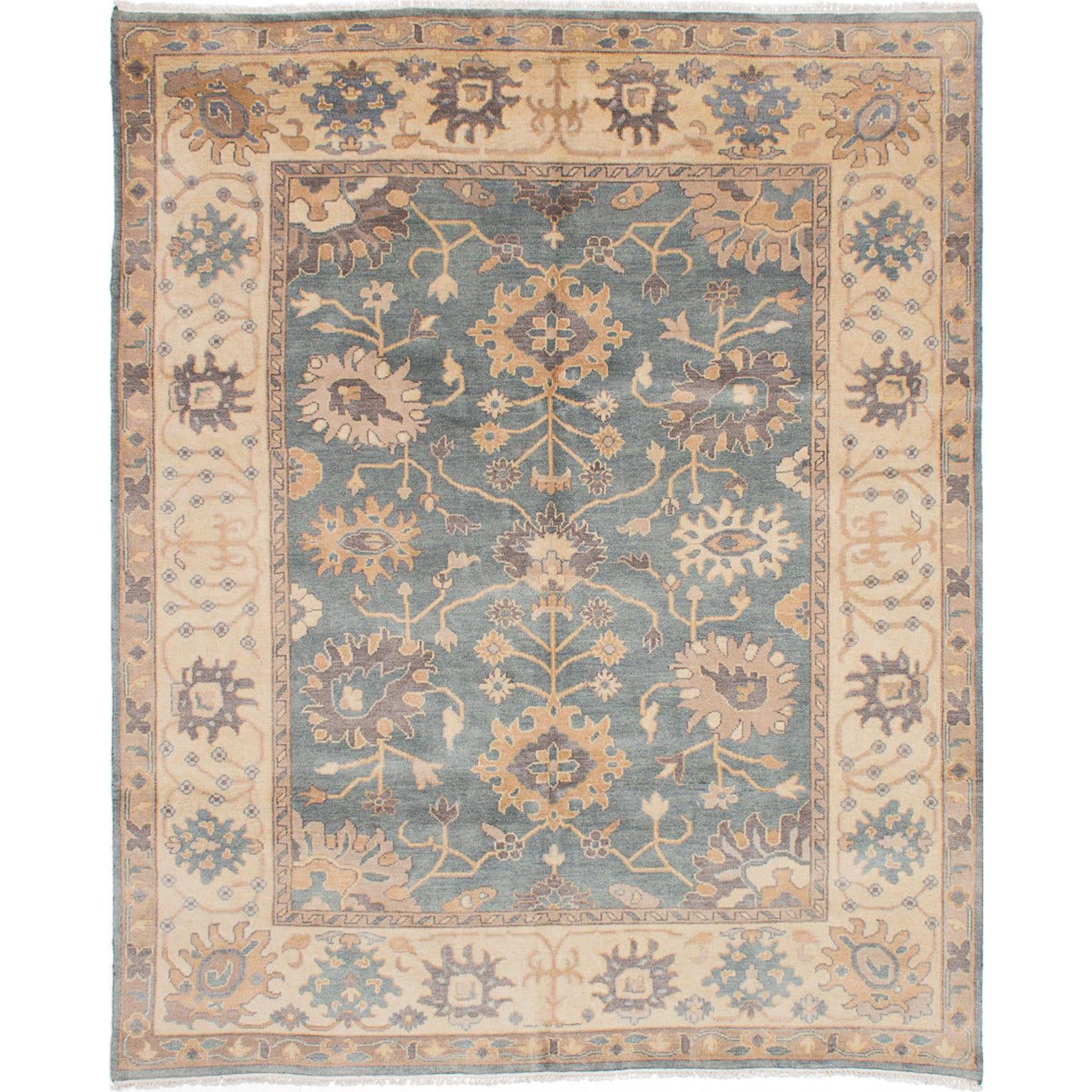 eCarpetGallery Royal Ushak Blue Wool Hand-knotted Area Rug (81 x 99) (Blue Light Turquoise Rug (8 x 9))