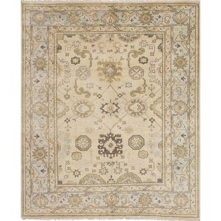 ecarpetgallery Hand-Knotted Royal Ushak Yellow  Wool Rug (8'1 x 9'10)