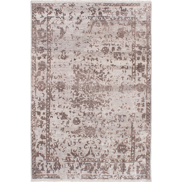 Ecarpetgallery Grey Viscose From Bamboo Cotton Hand Knotted Elixir Rug 6 0 X 9 Free Shipping Today 13140943