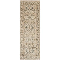 eCarpetGallery Ivory/Brown Wool/Cotton Hand-knotted Royal Ushak Runner Rug (2'8 x 8')