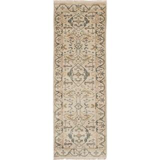 eCarpetGallery Ivory/Brown Wool/Cotton Hand-knotted Royal Ushak Runner Rug (2'8 x 8')