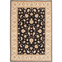 ecarpetgallery Hand-Knotted Chobi Finest Black Wool Rug - 6'1 x 9'1
