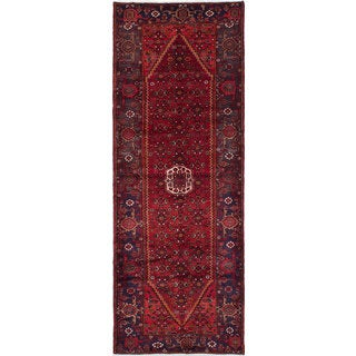 ecarpetgallery Hand-Knotted Hamadan Red  Wool Rug (3'8 x 10'1)