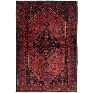 ecarpetgallery Hand-Knotted Hamadan Red Wool Rug (4'6 x 7'0)