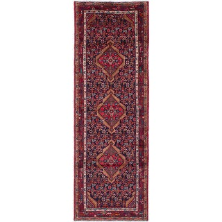 eCarpetGallery Koliai Blue/Red Wool Hand-knotted Runner Rug (3'4 x 9'11)