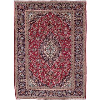 ecarpetgallery Hand-Knotted Kashan Red  Wool Rug (8'0 x 11'3)