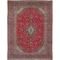 ecarpetgallery Hand-Knotted Kashan Red  Wool Rug (9'9 x 13'2)