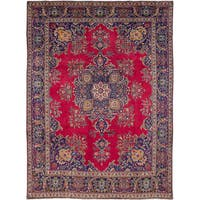 eCarpetGallery Tabriz Red Hand-knotted Wool Rug - 9'8 x 13'2
