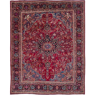 ecarpetgallery Hand-Knotted Sabzevar Red Wool Rug (10' x 12'7)