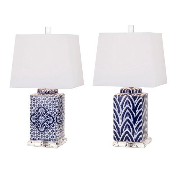 Carolina Hand-painted Ceramic Lamp - Set of 2