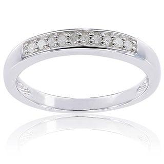 Miadora Sterling Silver 1/10ct TDW Diamond Ring (H-I, I2-I3)