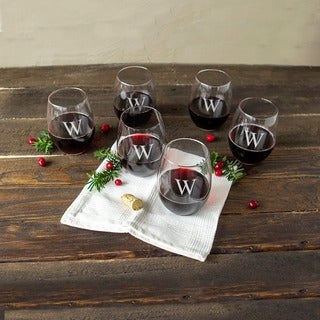 Personalized 21-ounce Stemless Wine Glasses (Set of 6)
