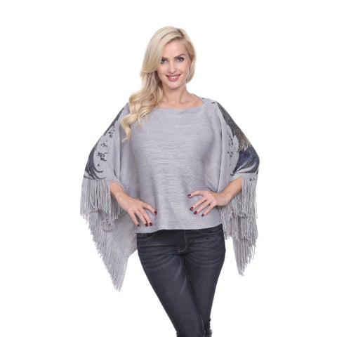 White Mark Women's Lurex Knit Eagle Wings Poncho
