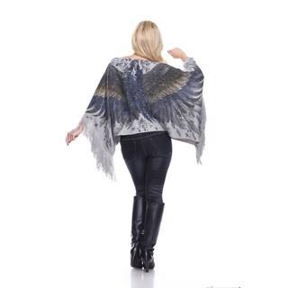 White Mark Women's Lurex Knit Eagle Wings Poncho