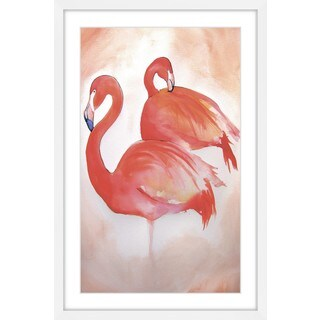 Marmont Hill - 'Flamingos' by Christine Lindstrom Framed Painting Print