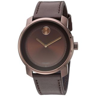 Movado Unisex 3600377 'Bold' Brown Leather Watch
