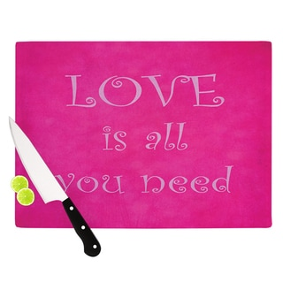KESS InHouse Iris Lehnhardt 'Love is all you need' Quote Pink Cutting Board
